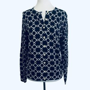 Charter Club navy & white link chain cardigan